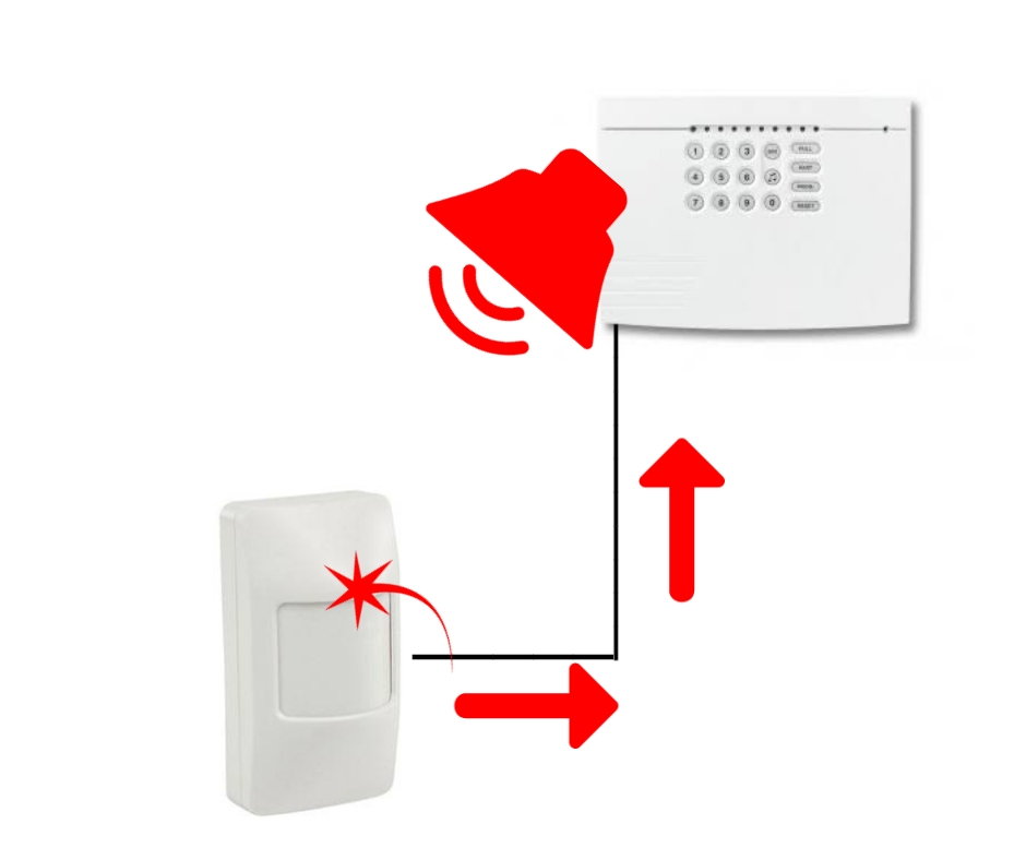Diagram comparing pain to alarm system